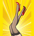 pop art female legs in stockings and red shoes vector image