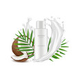realistic coconut cosmetics bottle palm leaves vector image vector image