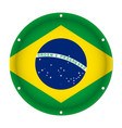 round metallic flag of brazil with screw holes vector image vector image