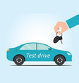 Salesman hand holding car key to test drive vector image