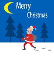 Santa Claus comes on the night forest vector image vector image
