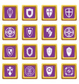 shields set icons set purple vector image vector image