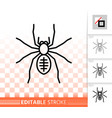 spider danger insect simple black line icon vector image