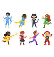 super hero kids set children in colorful costumes vector image vector image