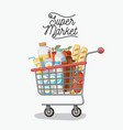 supermarket colorful poster with shopping cart vector image