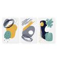 three cards setabstract geometric shape hand vector image vector image
