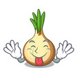 tongue out fresh yellow onion isolated on mascot vector image vector image