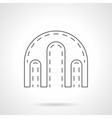 Triple arch flat line icon vector image vector image