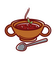 turkish soup arabashi in clay bowl with handles vector image vector image