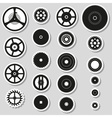 Various cogwheels parts of watch movement stickers vector image