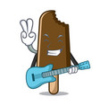with guitar chocolate ice cream mascot cartoon vector image