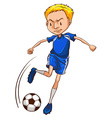 A soccer player wearing a blue uniform vector image vector image