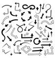 arrows set mixed style black flat icons vector image vector image
