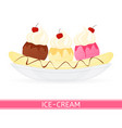 banana split ice-cream isolated vector image