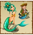 Beautiful mermaid and a leprechaun with a tail vector image vector image