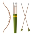 bow and arrow icon in cartoon style isolated vector image
