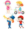 boys and girls doing different activity vector image