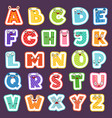cartoon alphabet with emotions colored cute font vector image vector image