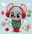 cartoon mouse girl in a coat and fur headphones vector image vector image
