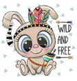 cartoon tribal rabbit with feathers on a white vector image vector image
