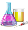 Chemical in glass beakers vector image vector image