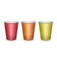 colorful red orange and yellow paper cups vector image vector image
