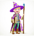 cute boy dressed as a wizard with book and a vector image vector image