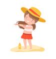 cute girl applying sunscreen at beach kids vector image