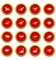 dinosaur icon red circle set vector image