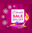 diwali sale -50 off sign vector image vector image