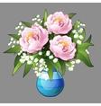 Elegant bouquet of pink peonies closeup vector image vector image