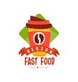 fast food logo design badge with coffee for vector image