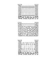 fences of different structures and materials vector image