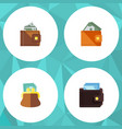 flat icon billfold set of pouch billfold finance vector image vector image