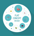 flat icons sofa faucet foam and other vector image vector image