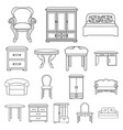 furniture and interior outline icons in set vector image vector image