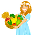 girl with vegetables vector image