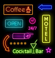 Glowing Neon Lights for Cafe and Motel Signs vector image