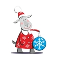 Goat in Santa Claus costume 01 vector image