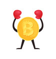 golden coin in red boxing gloves with hands up vector image vector image