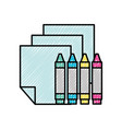 graphic design crayons and sheet tools vector image vector image