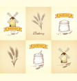 hand drawn bakery and wheat isolated icons set vector image