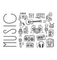 hand drawn design of various musical vector image