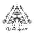 hand drawn wigwam and indian arrows vector image vector image