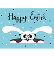 Happy Easter bunny with glasses Heart background vector image vector image