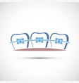 icon human teeth with metal dental braces vector image