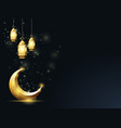 islamic crescent and hanging down lanterns vector image vector image