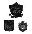 isolated object of heraldic and crown sign set of vector image