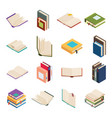 isometric open books stack isolated education vector image