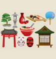 japan traditional object set vector image